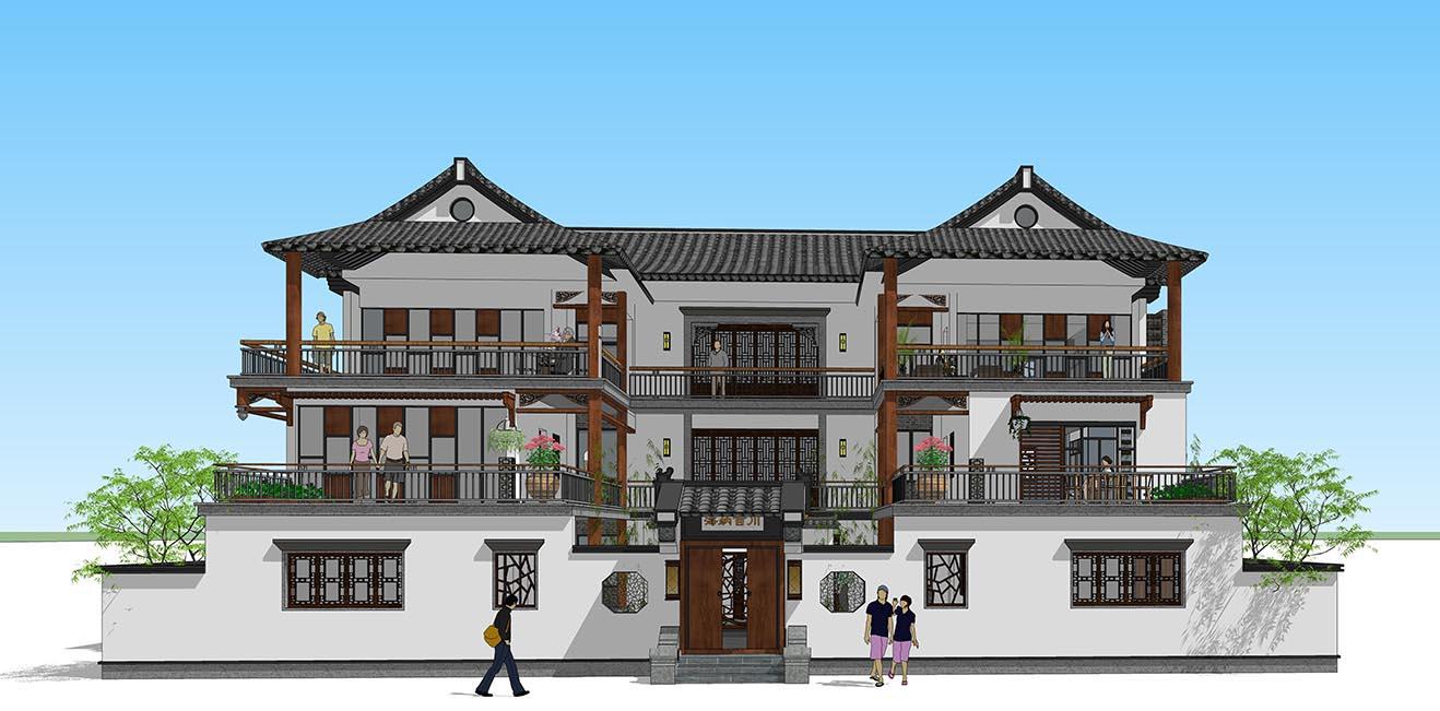 自建别墅设计服务---湖南新中式别墅